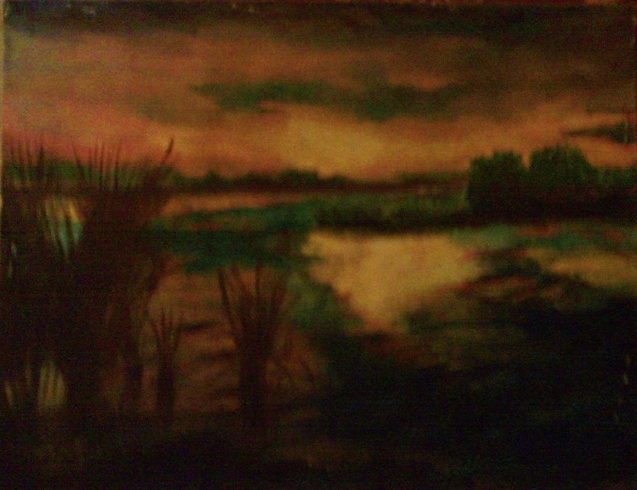 Sundown Landscape Painting by Helen Vanterpool