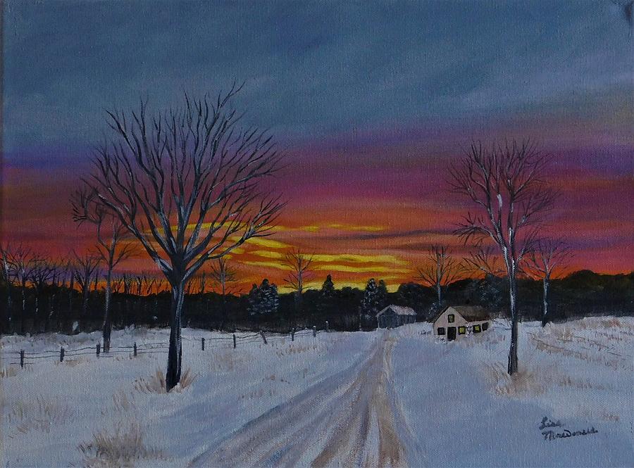 Winter Painting - SunDown by Lisa MacDonald
