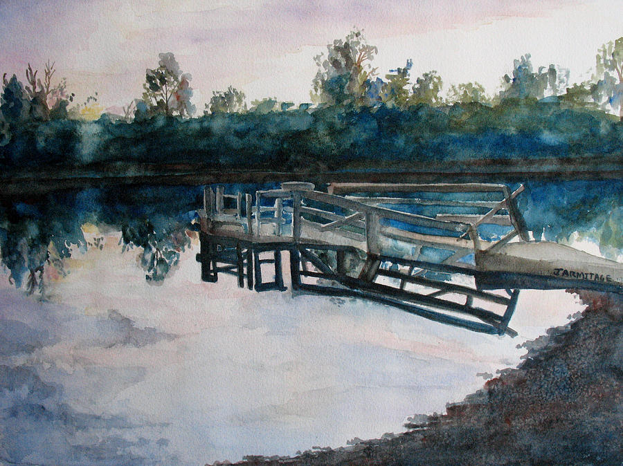River Painting - Sundown On The Broken Dock by Jenny Armitage