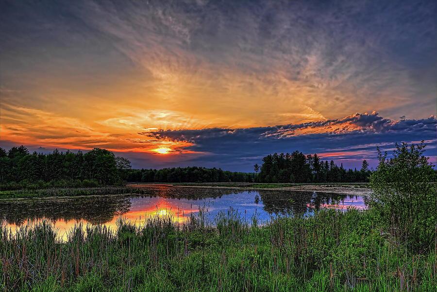 Sundown Over Bentley Pond Photograph