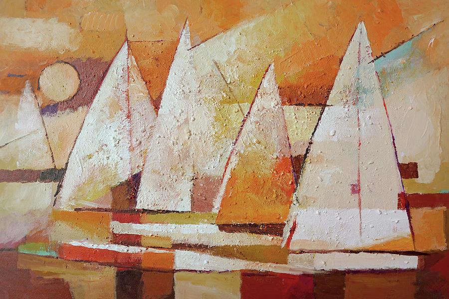 Sundown Painting - Sundown Regatta by Lutz Baar