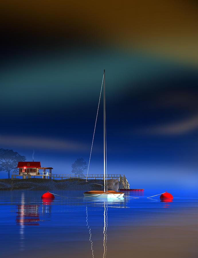 Sunfish Sailboat Digital Art - Sunfish by Stephen Harlan