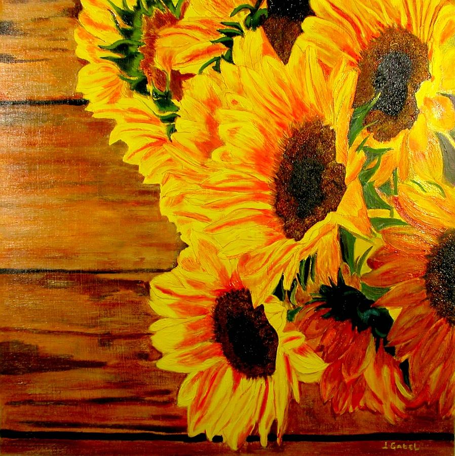 Acrylic Painting - Sunflower 1 by Laura Gabel