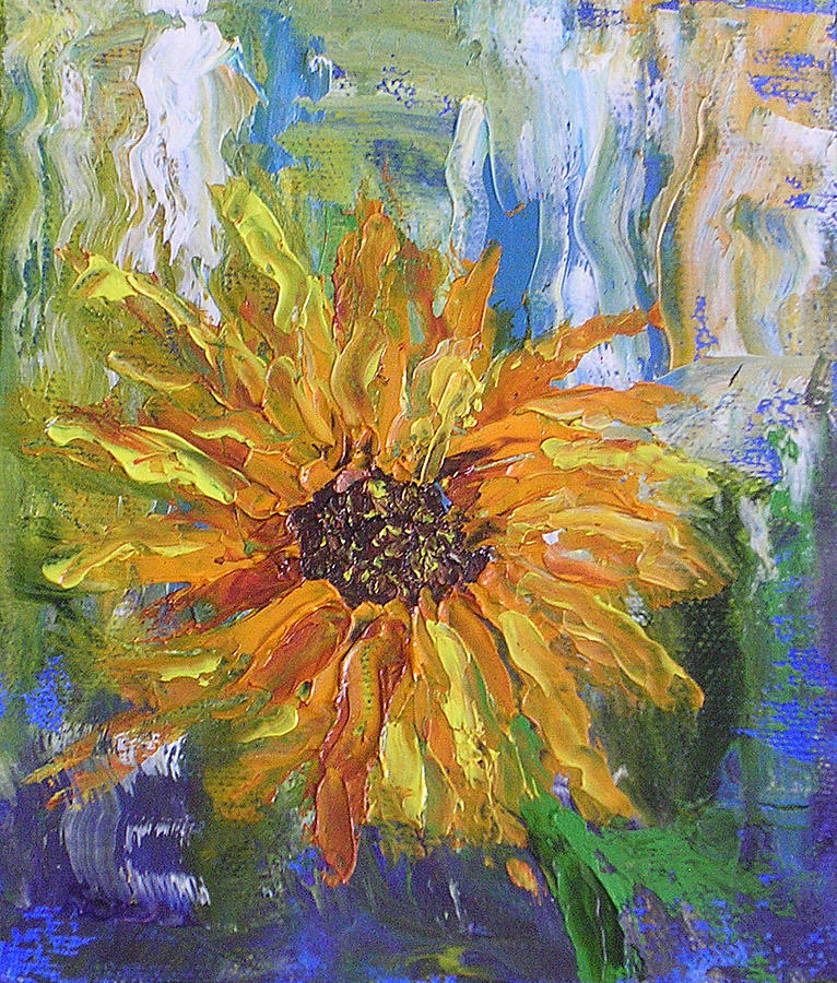 sunflower abstract painting by barbara harper
