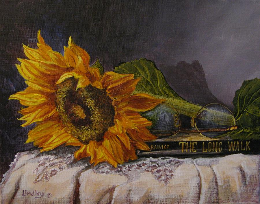 Judy Bradley Painting - Sunflower And Book by Judy Bradley