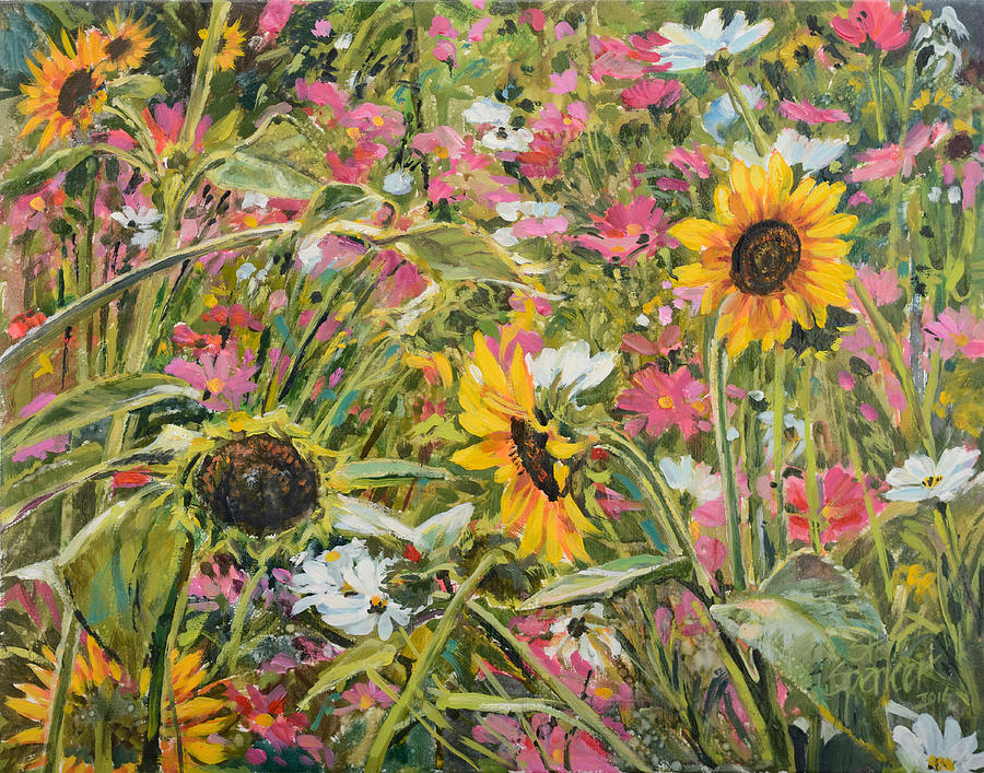 Flowers Painting - Sunflower And Cosmos by Steve Spencer