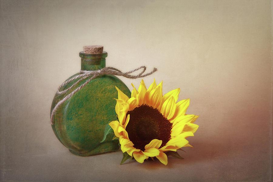 Bloom Photograph - Sunflower And Green Glass Still Life by Tom Mc Nemar