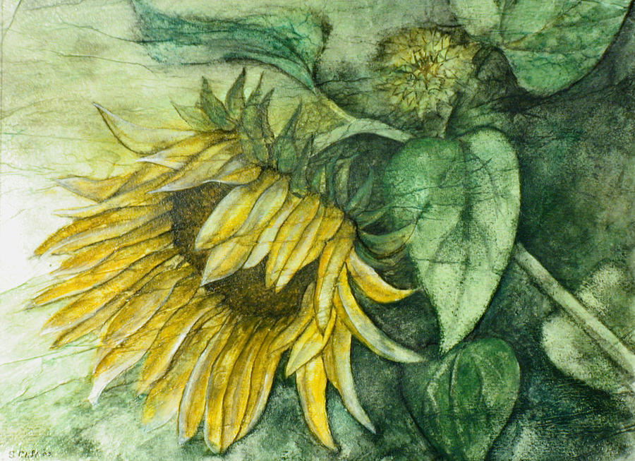 Flowers Painting - Sunflower At Dusk by Sandy Clift