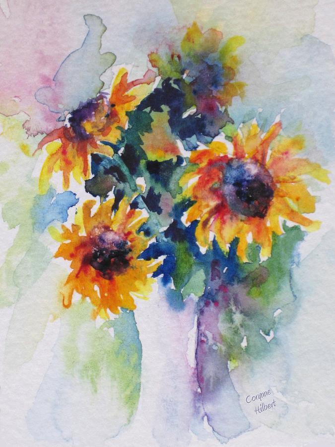 Still Life Painting - Sunflower Bouquet by Corynne Hilbert