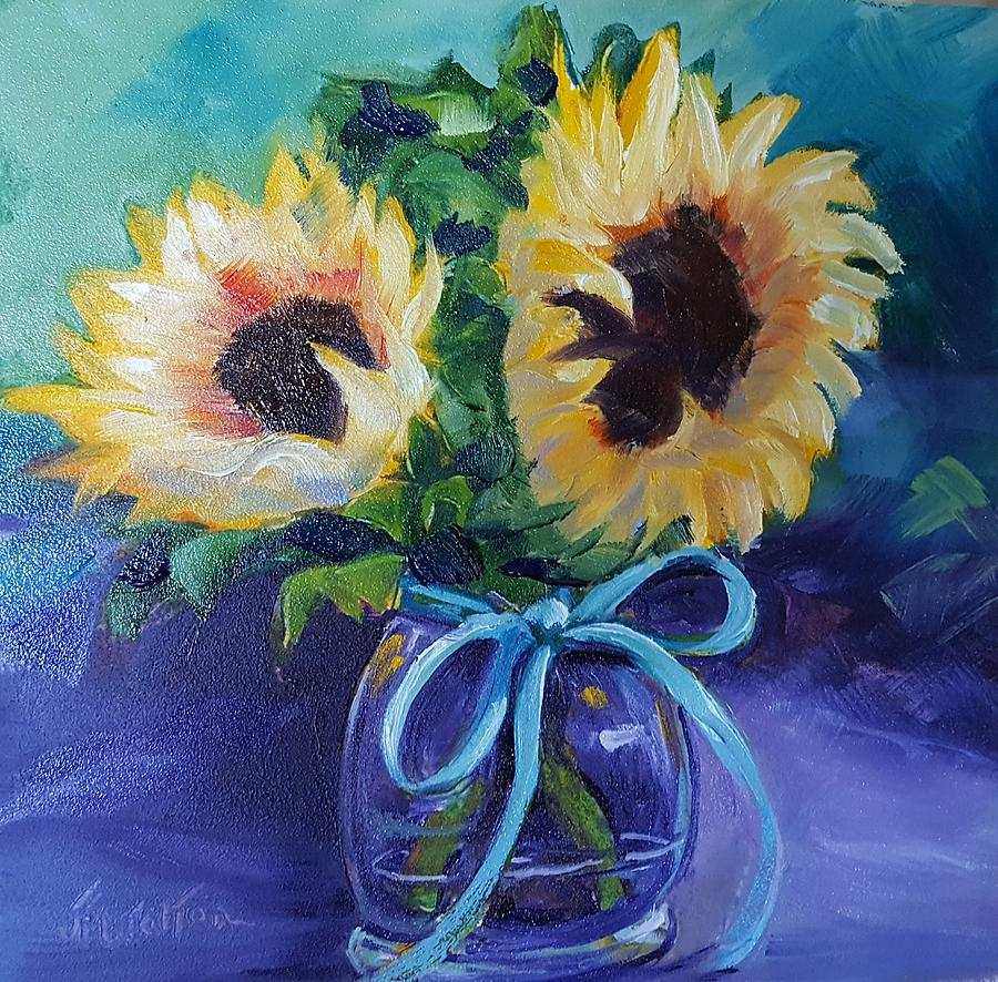 Sunflower/Clear Jar by Judy Fischer Walton