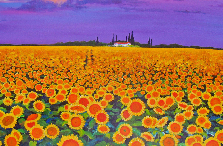 sunflower field painting by anne marie brown