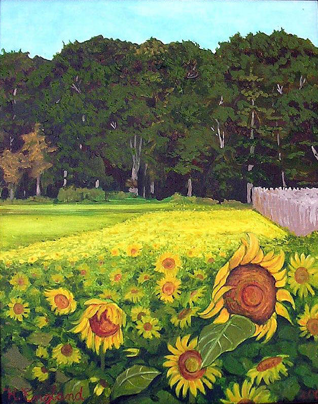 Sunflower Field Painting by Hilary England