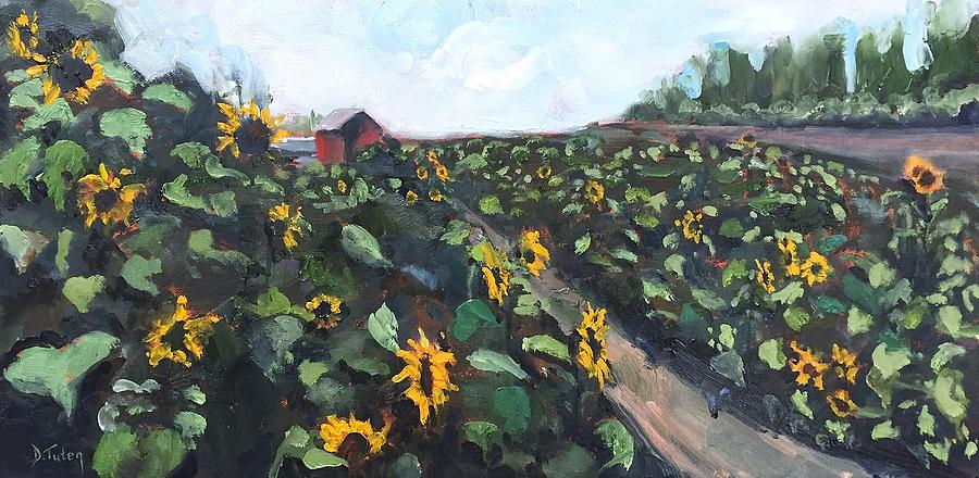 Sunflower Field Oil Painting by Donna Tuten