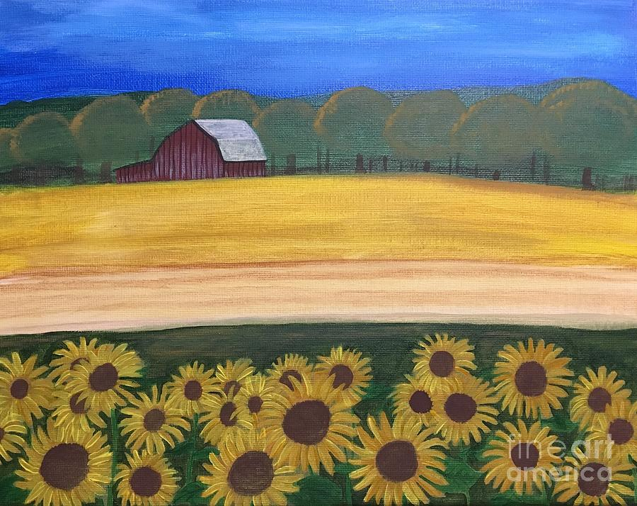 Sunflower Painting - Sunflower Fields by Lindsay Smith