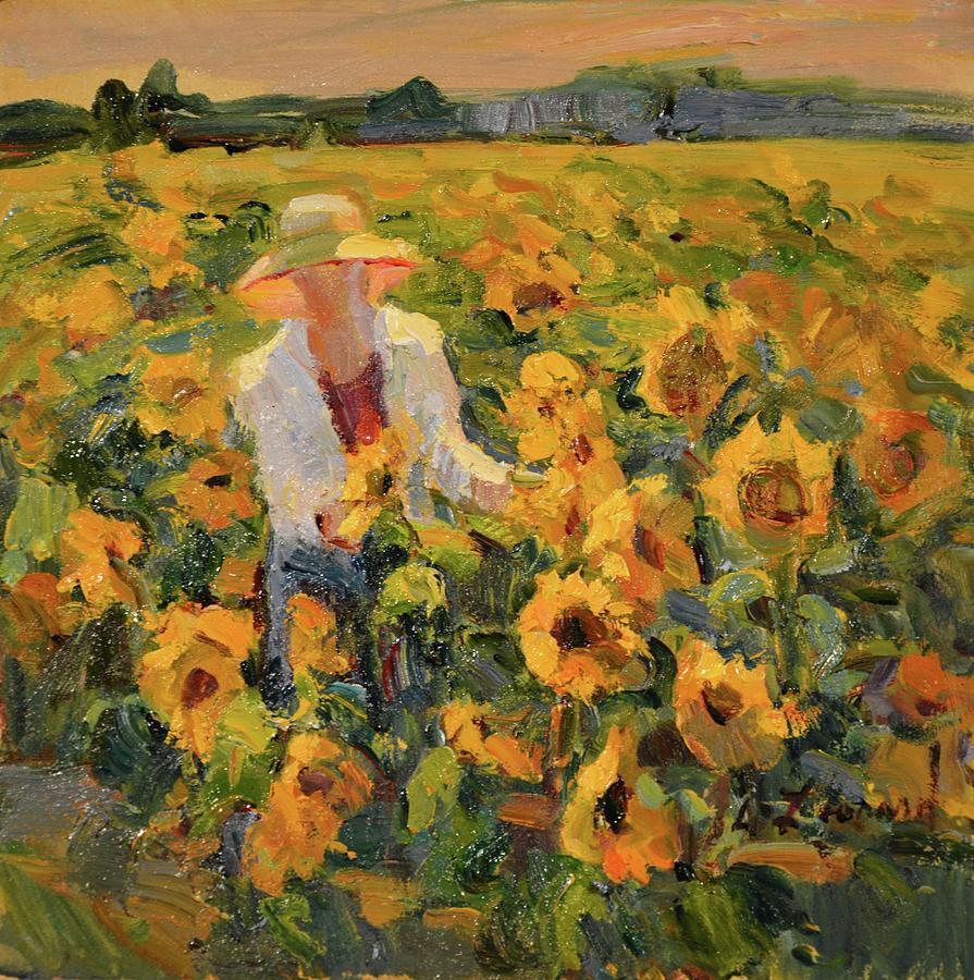 Sunflower Fields Study Painting