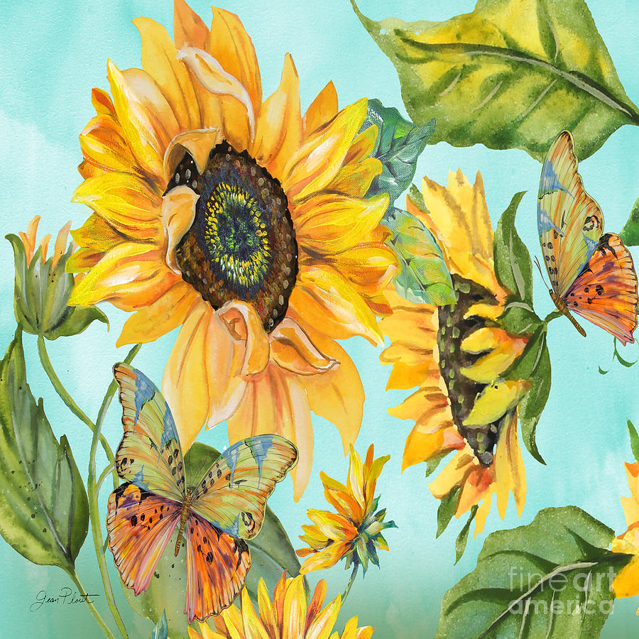 Watercolor Painting Painting - Sunflower Garden-jp3027-a by Jean Plout