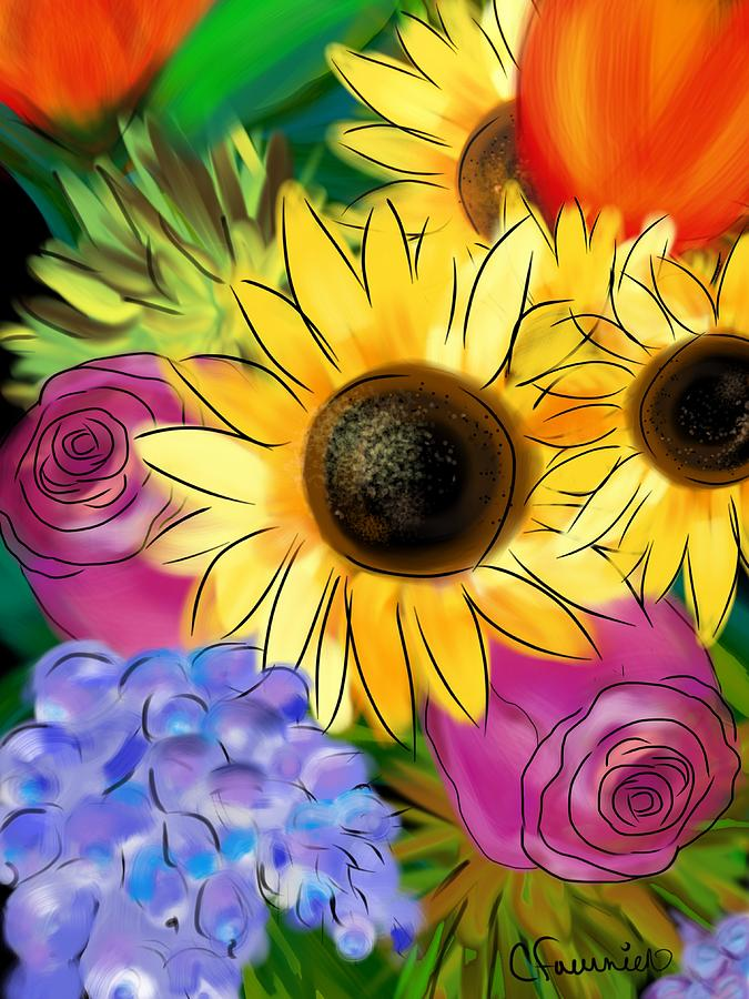 Sunflower happiness by Christine Fournier