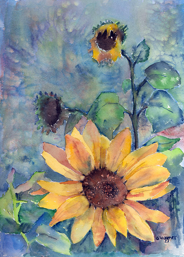 Sunflower Painting - Sunflower In Bloom by Arline Wagner