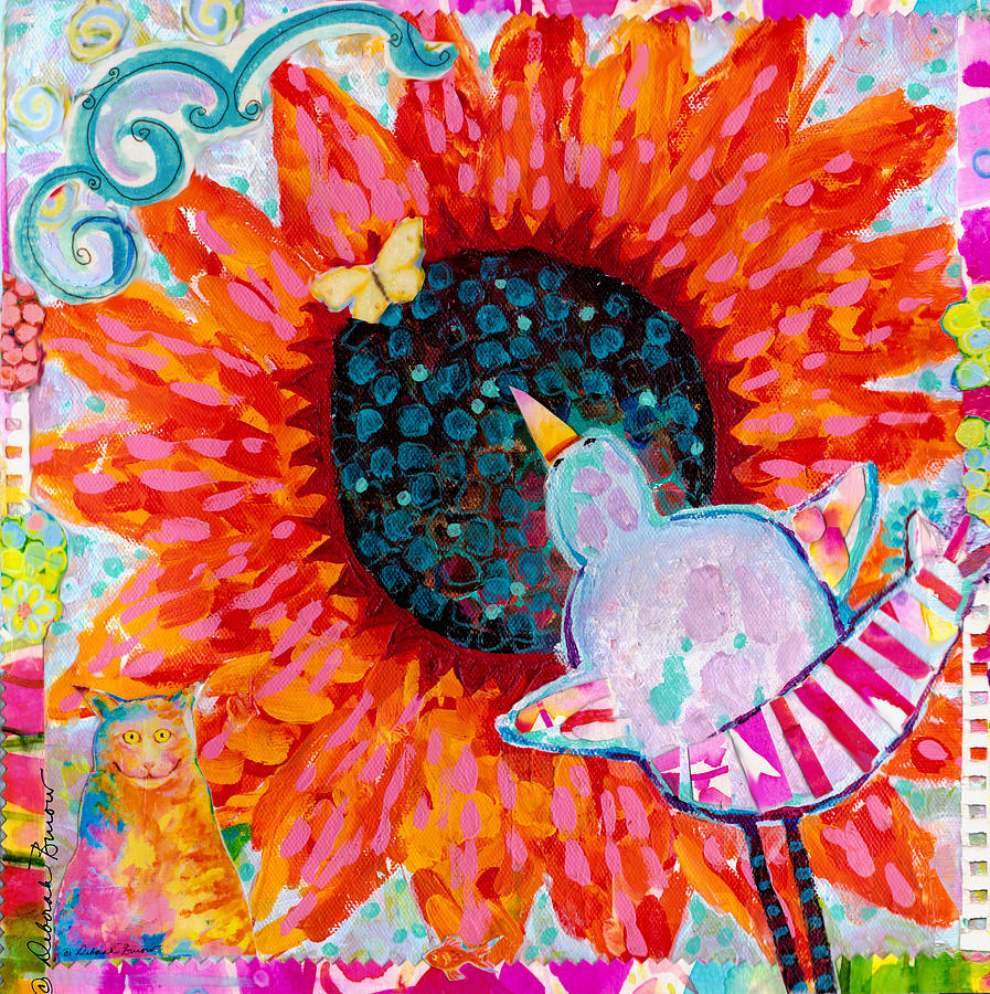 Multimedia Painting - Sunflower In The Middle by Deborah Burow