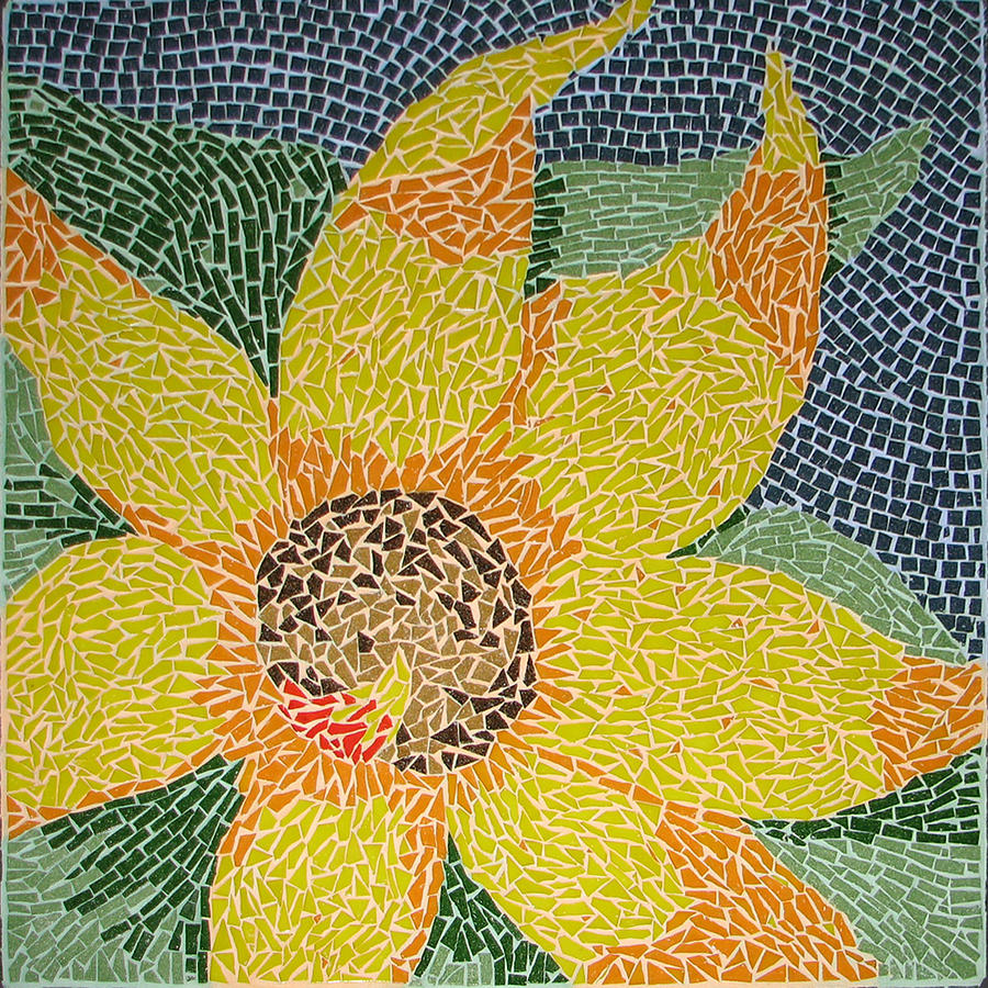 Mosaic Sculpture - Sunflower by Libby  Cagle
