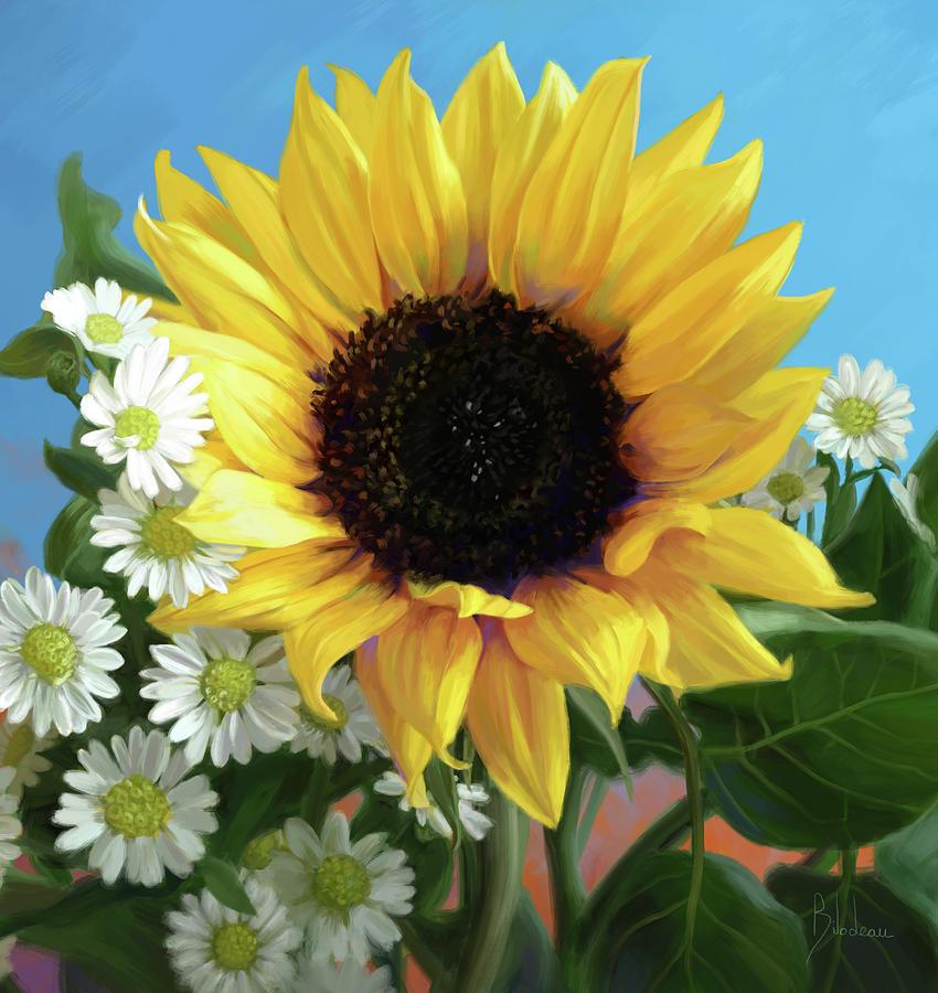 Sunflower Digital Art - Sunflower by Lucie Bilodeau