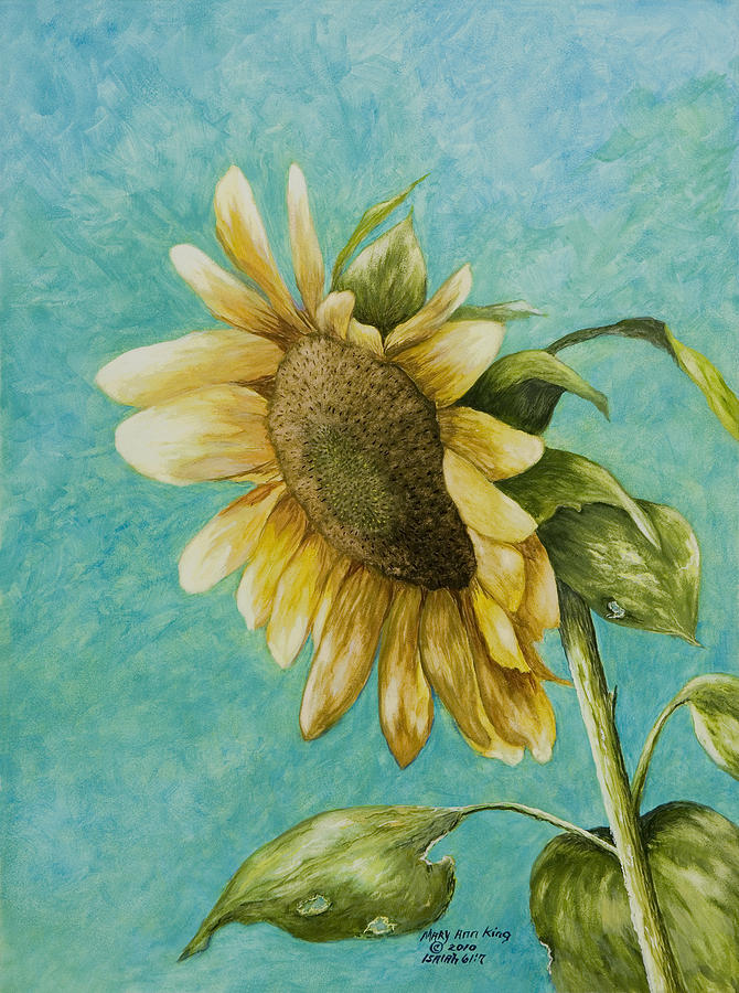 Yellow Sunflower Paintings Painting - Sunflower Number One by Mary Ann King
