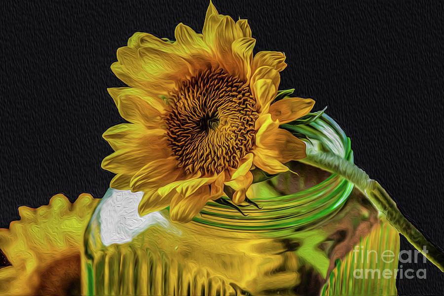 Sunflower On A Jar Photograph