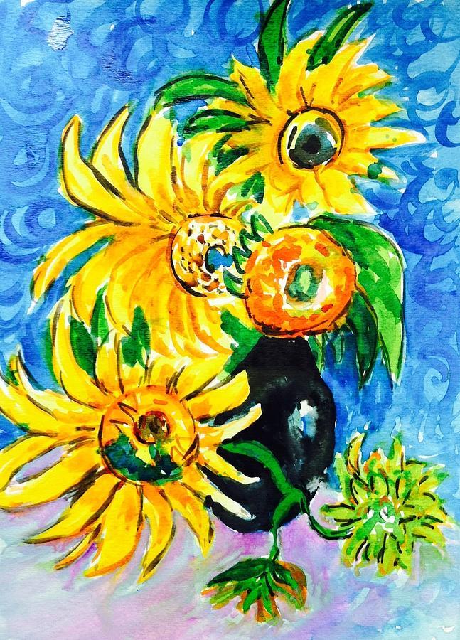 Sunflower Painting - Sunflower On Black Vase by Hae Kim