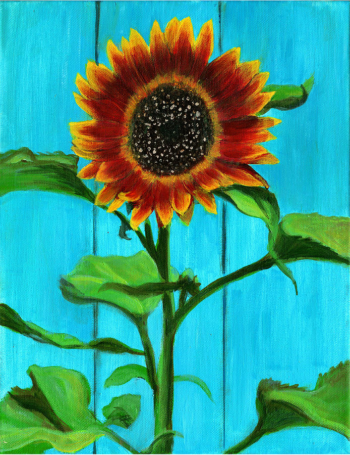 SUNFLOWER ON BLUE by Debbie Brown