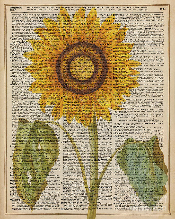 Old Dictionary Digital Art - Sunflower Over Dictionary Page by Anna W