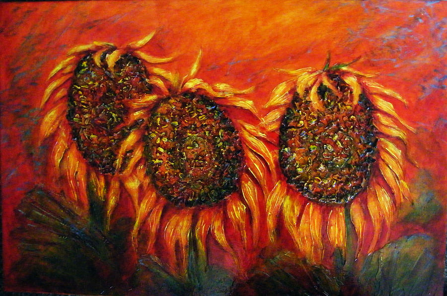 Bright Painting - Sunflower Portraits by Gail Sawatzky