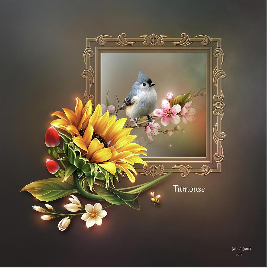 Sunflower Scene - Titmouse Bird by John Junek