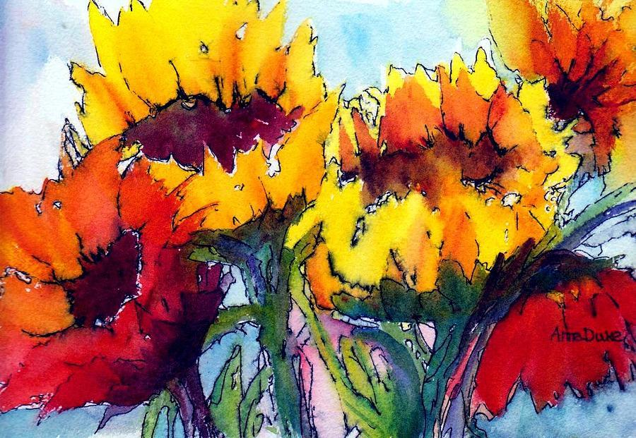 Sunflower Painting - Sunflower Serenade by Anne Duke