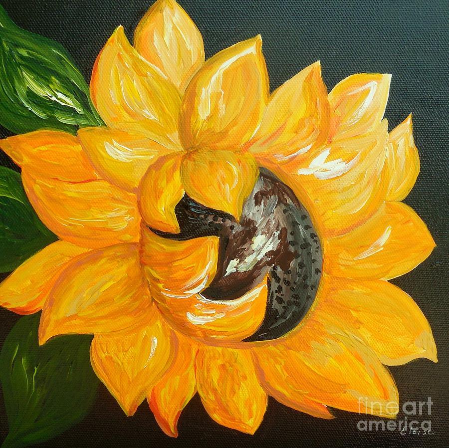 Sunflower Painting - Sunflower Solo by Eloise Schneider