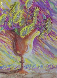 Sunflower Sunset Painting by Jane Priser