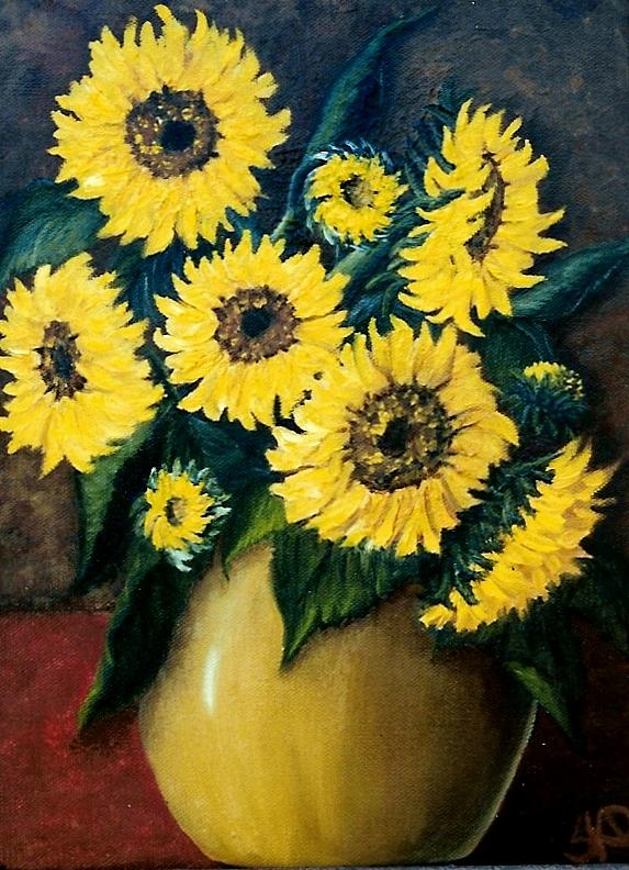 Still Life Painting - Sunflower Surprise  Sold by Susan Dehlinger