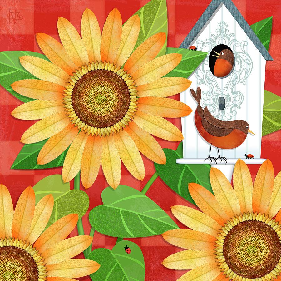 Sunflowers Digital Art - Sunflower Surprise by Valerie Drake Lesiak