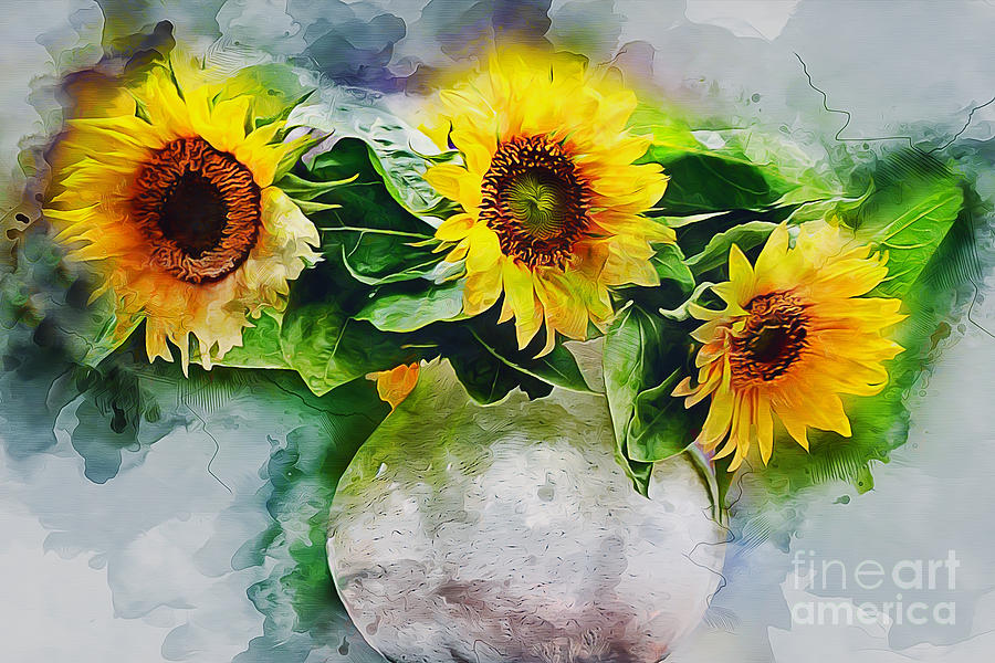 Nature Photograph - Sunflower Trio by Ian Mitchell