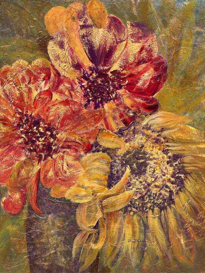 Sunflower with Zinnias by Betty Pehme
