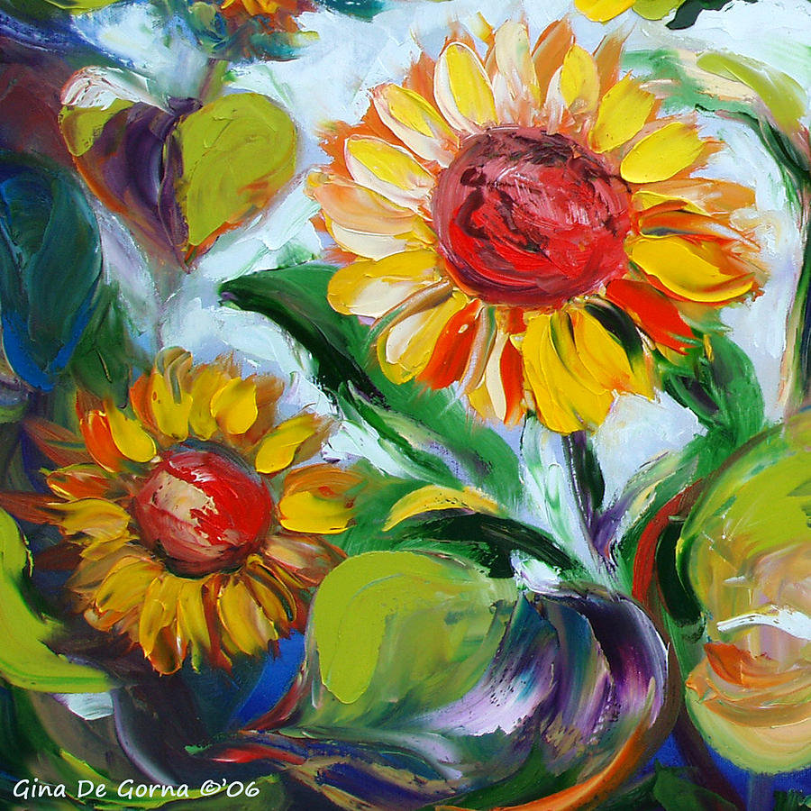 Flowers Painting - Sunflowers 10 by Gina De Gorna