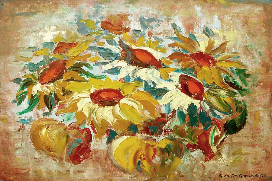 Sunflowers Painting - Sunflowers 15 by Gina De Gorna