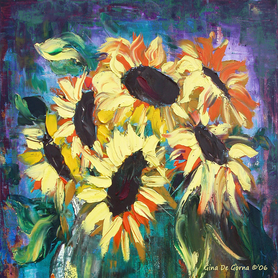 Sunflowers Painting - Sunflowers 2 by Gina De Gorna
