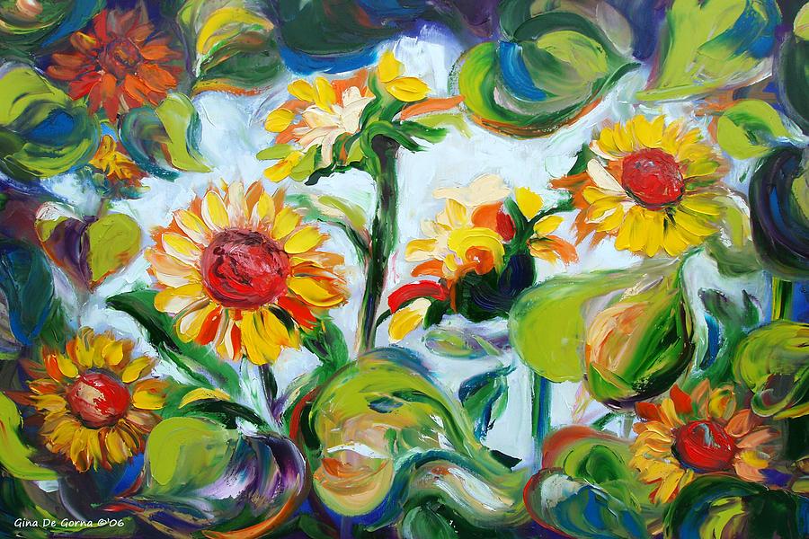 Sunflowers Painting - Sunflowers 3 by Gina De Gorna