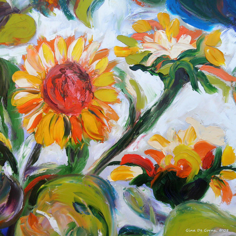 Flowers Painting - Sunflowers 5 by Gina De Gorna