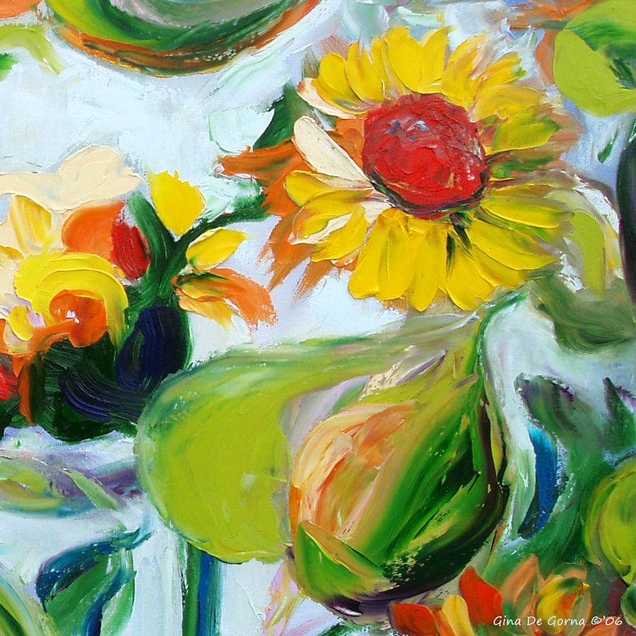 Flowers Painting - Sunflowers 7 by Gina De Gorna