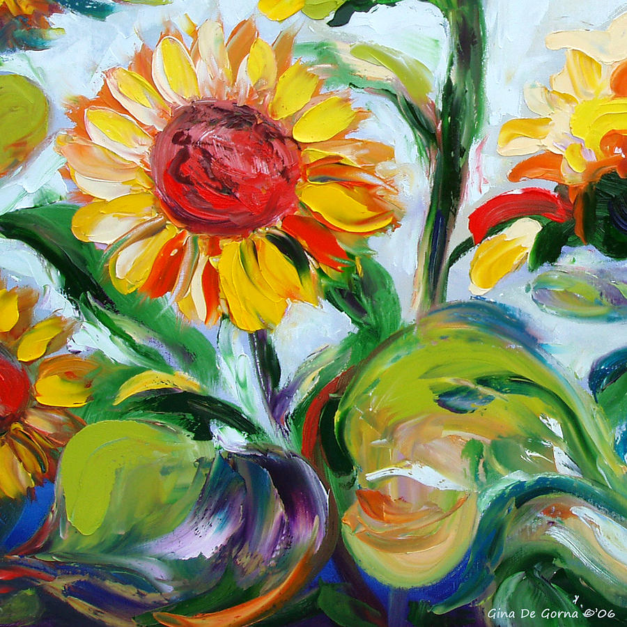 Flowers Painting - Sunflowers 9 by Gina De Gorna