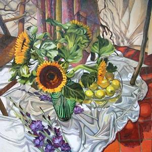 Sunflowers Painting by Margie Guyot