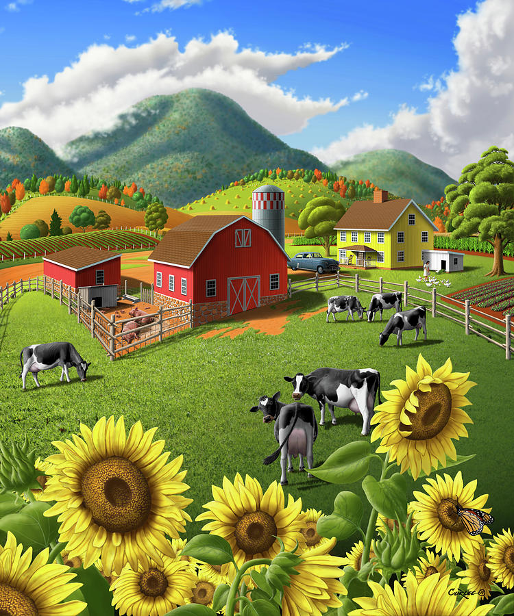 1950s Digital Art - Sunflowers And Cows Farm Landscape Painting - 1950s Appalachian Painting - Rural Americana Folk Art by Walt Curlee