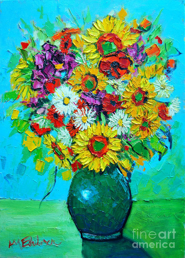 Floral Painting - Sunflowers And Daises by Ana Maria Edulescu