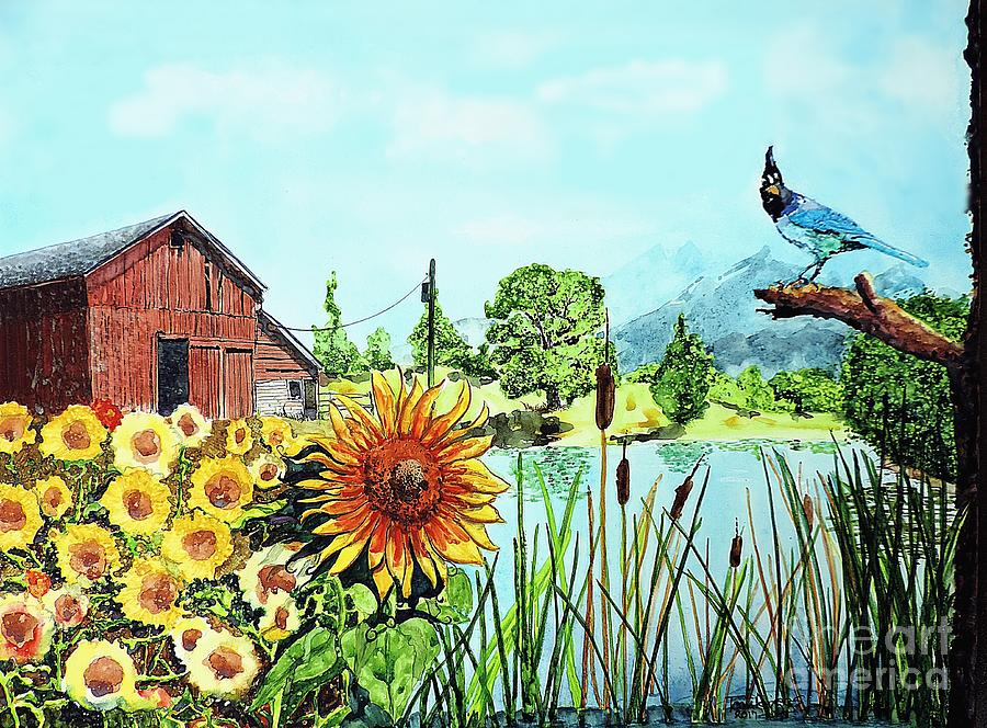 Blue Jay Painting - Sunflowers and JayBird by Tom Riggs